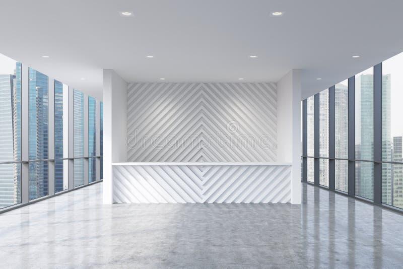 Приемная в современном ярком чистом интерьере офиса Огромные панорамные окна с видом на город Сингапура Концепция бутика бесплатная иллюстрация