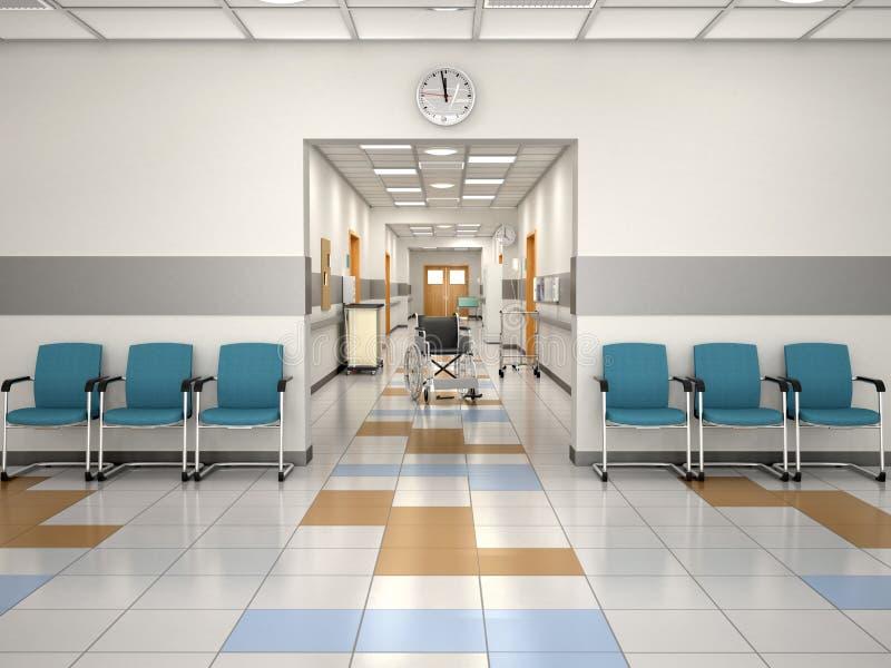 Прием больницы дизайна интерьера Установите ждать illustrati 3d иллюстрация вектора