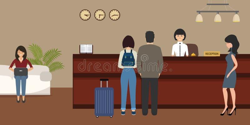 Прием гостиницы Перемещение, гостеприимство, концепция бронирования гостиниц иллюстрация штока