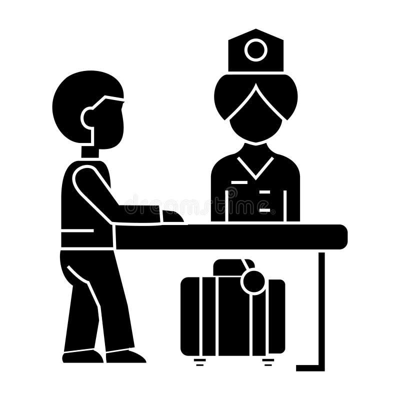 Прием гостиницы, работник службы рисепшн на значке таблицы, иллюстрация вектора, знак на изолированной предпосылке иллюстрация штока