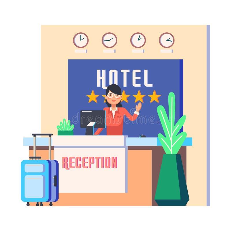 Прием гостиницы с сумкой женщины и багажа бесплатная иллюстрация