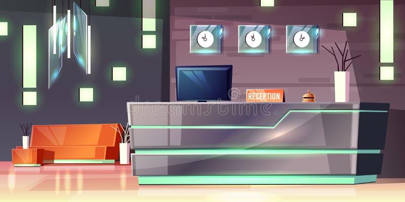 Прием гостиницы шаржа вектора Современное лобби, фойе бесплатная иллюстрация