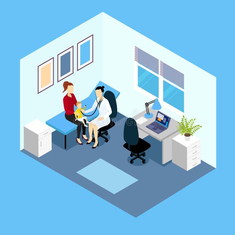 Прием на дизайне педиатра равновеликом бесплатная иллюстрация