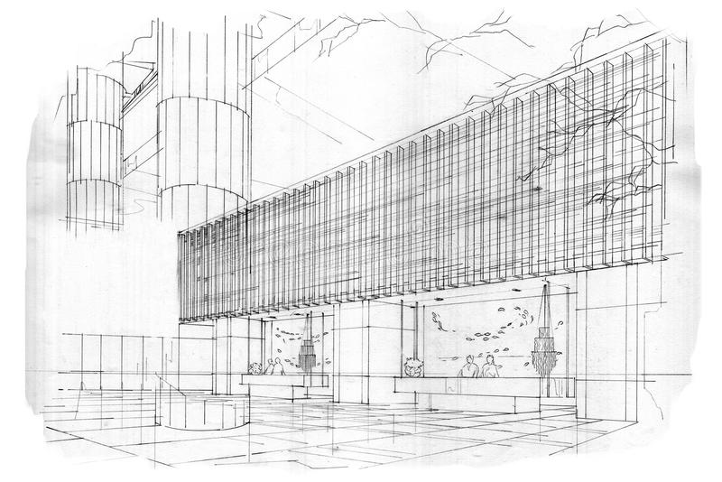 Прием перспективы эскиза внутренний, черно-белый дизайн интерьера бесплатная иллюстрация