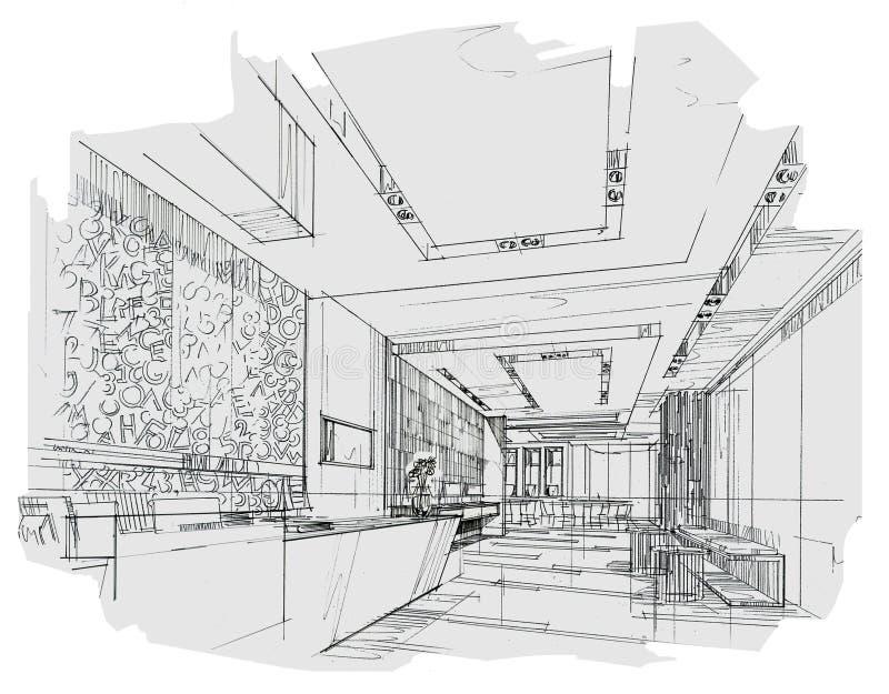 Прием перспективы эскиза внутренний, черно-белый дизайн интерьера иллюстрация вектора