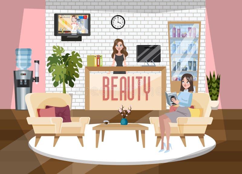 Прием салона красоты и курорта Красивый женский администратор иллюстрация штока