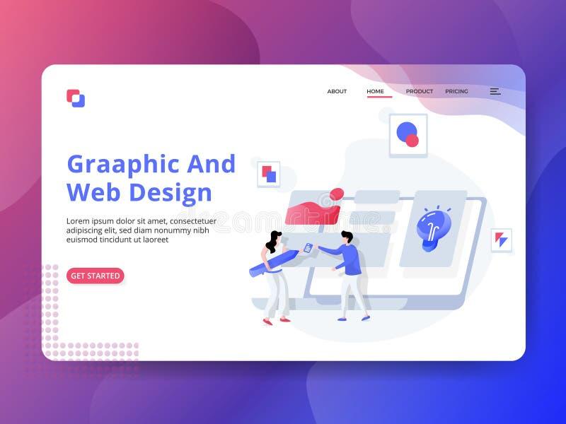 Приземляясь график и веб-дизайн страницы иллюстрация штока