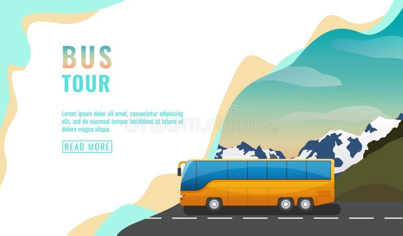 Приземляясь дизайн страницы, знамя с путешествием автобуса, концепция туризма, желтый автобус на дороге, красивое небо и горы, ве иллюстрация штока