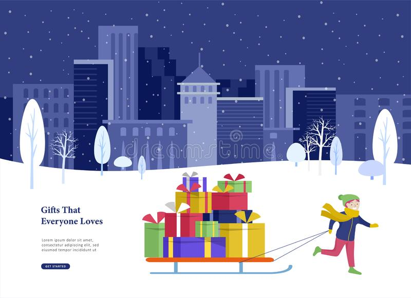 Приземляясь зимние отдыхи поздравительной открытки шаблона страницы Веселое рождество и С Новым Годом! вебсайт Маленькая девочка  иллюстрация вектора
