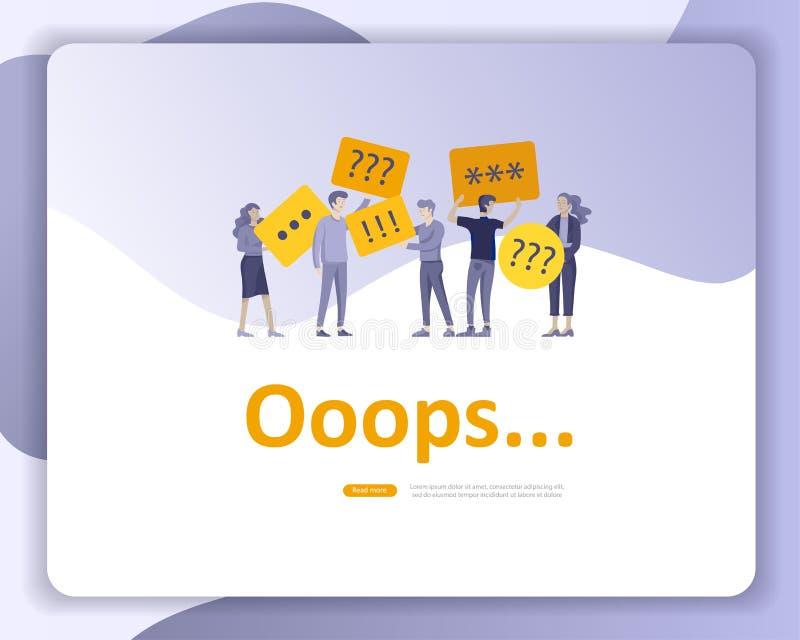 Приземляясь иллюстрация страницы ошибки шаблонов страницы с характерами людей найденная не страница Иллюстрация концепции вектора иллюстрация штока