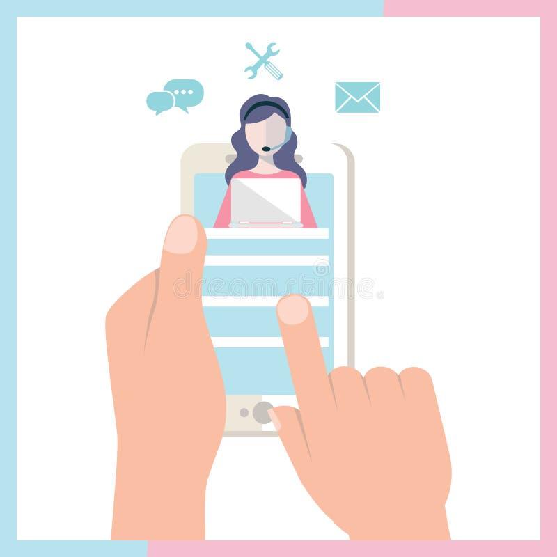 Приземляясь клиент шаблона страницы и оператор, онлайн служба технической поддержки 24-7 для интернет-страницы Горячая линия иллю иллюстрация штока