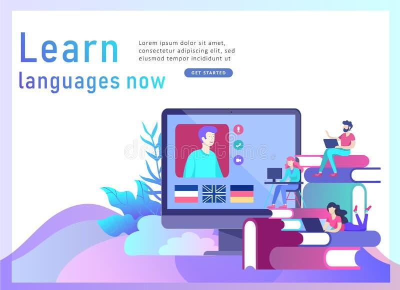 Приземляясь шаблоны страницы для онлайн языковых курсов, дистанционного обучения, тренировки Интерфейс изучения языка и иллюстрация штока