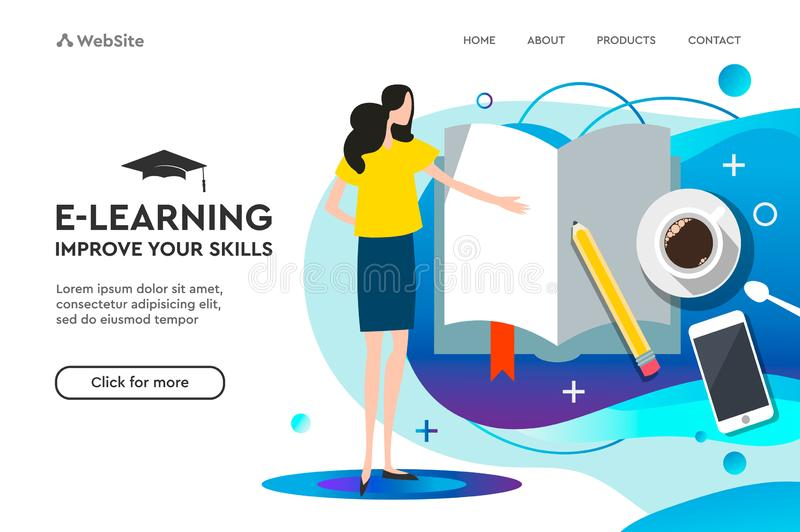 Приземляясь шаблон страницы для онлайн образования и обучения по Интернету r r иллюстрация штока