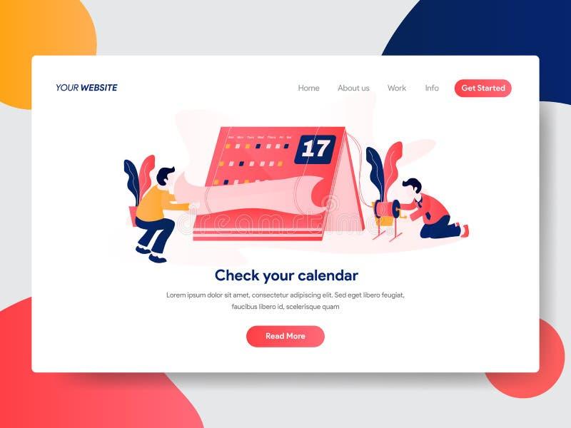 Приземляясь шаблон страницы календаря и концепции встреч Современная плоская идея проекта дизайна интернет-страницы для вебсайта  бесплатная иллюстрация