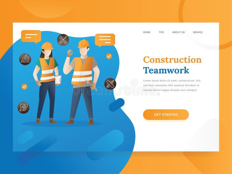 Приземляясь шаблон страницы проекта & сервиса управления конструкции иллюстрация вектора