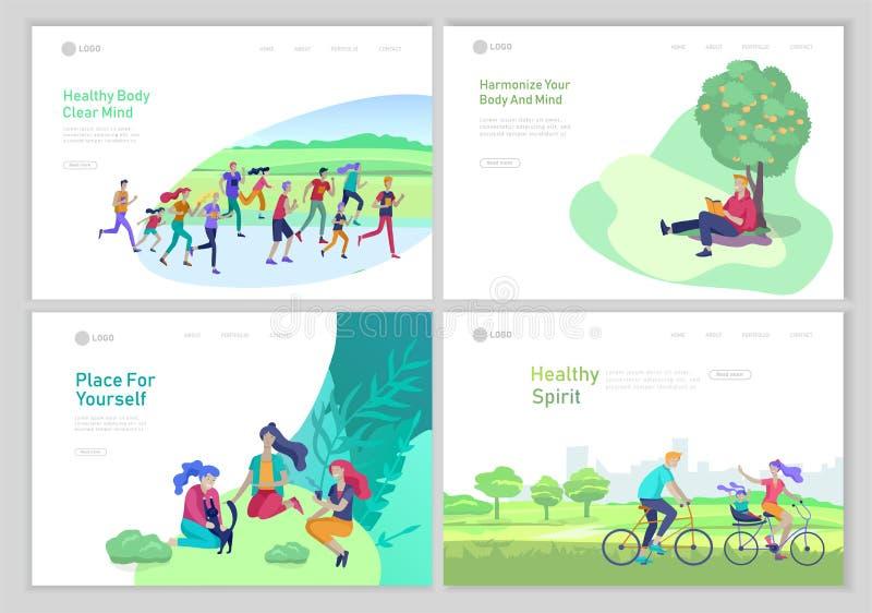 Приземляясь шаблон страницы с людьми тратя время, ослабляя на концепции природы, книга чтения человека, семья едет велосипед иллюстрация штока