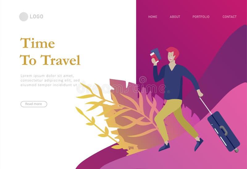 приземляясь шаблон страницы с перемещением людей на каникулах Туристы с laggage путешествуя с семьей, друзьями и самостоятельно,  иллюстрация штока