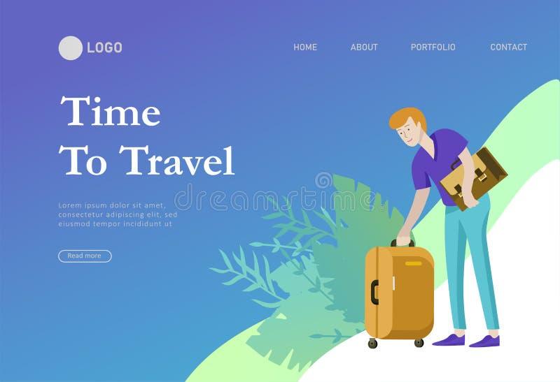 Приземляясь шаблон страницы с перемещением людей на каникулах Туристы с laggage путешествуя с семьей, друзьями и самостоятельно иллюстрация штока