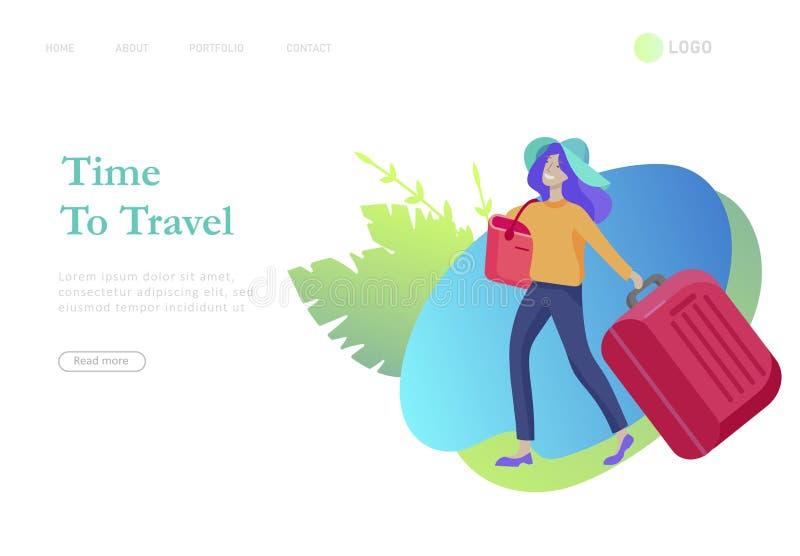 Приземляясь шаблон страницы с перемещением людей на каникулах Туристы с laggage путешествуя с семьей, друзьями и самостоятельно иллюстрация вектора