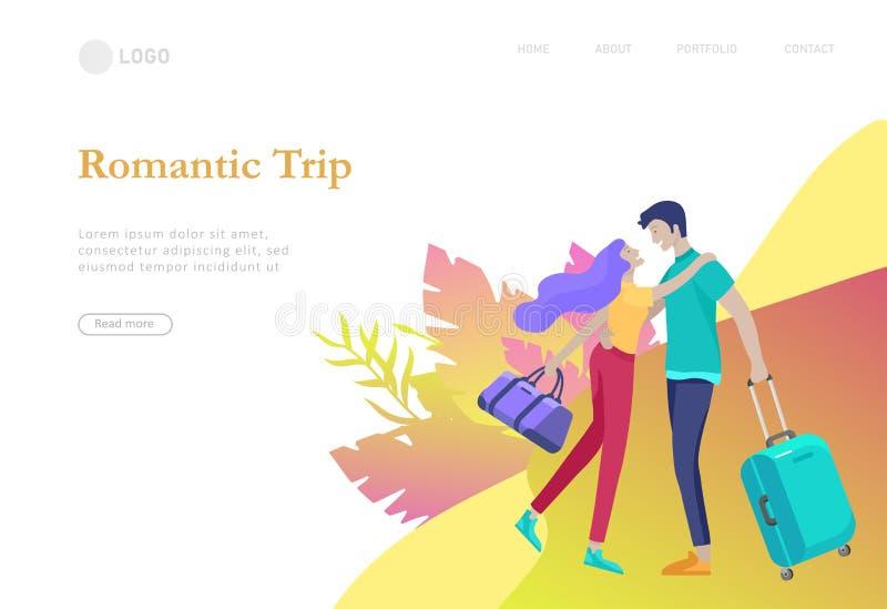 Приземляясь шаблон страницы с перемещением людей на каникулах Туристы с laggage путешествуя с семьей, друзьями и самостоятельно бесплатная иллюстрация
