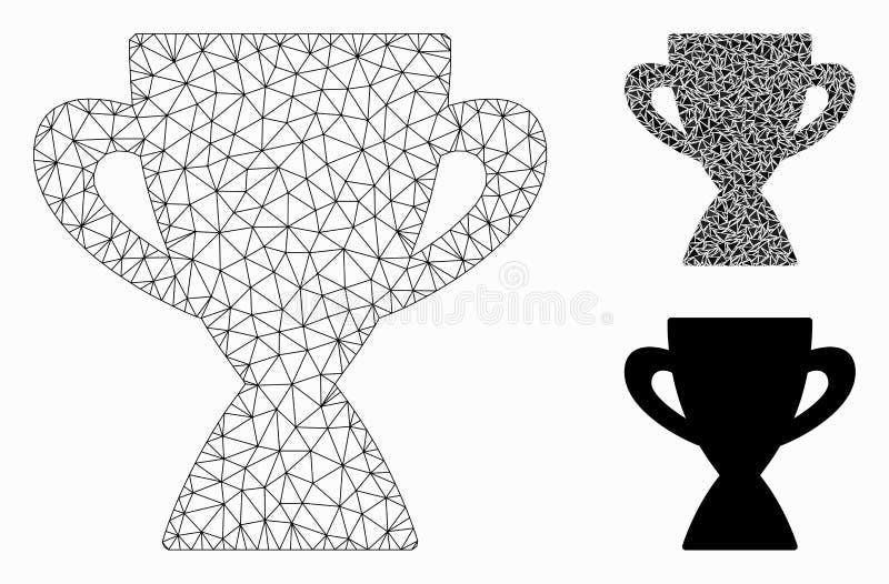 Призовой значок мозаики сетевой модели и треугольника ячеистой сети вектора чашки бесплатная иллюстрация