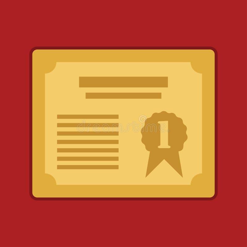 Призовой золотой сертификат для 1-ой иллюстрации eps10 вектора иллюстрация вектора