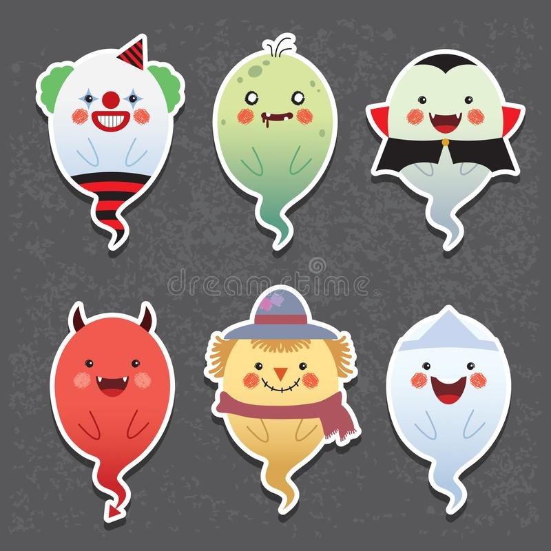 Призраки хеллоуина мультфильма - клоун, зомби, вампир, дьявол, чучело & японский призрак иллюстрация штока