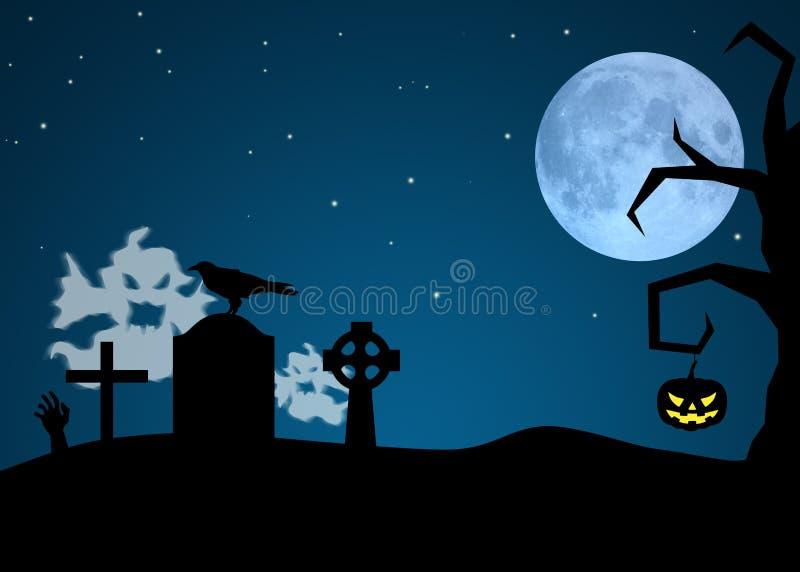 Призраки хеллоуина в погосте иллюстрация вектора
