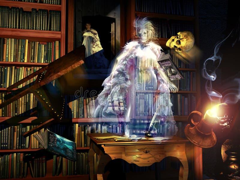 Призрак библиотеки иллюстрация штока