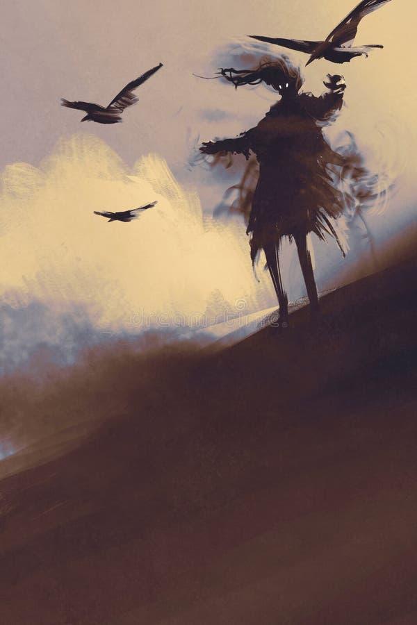 Призрак с воронами летания в пустыне иллюстрация вектора