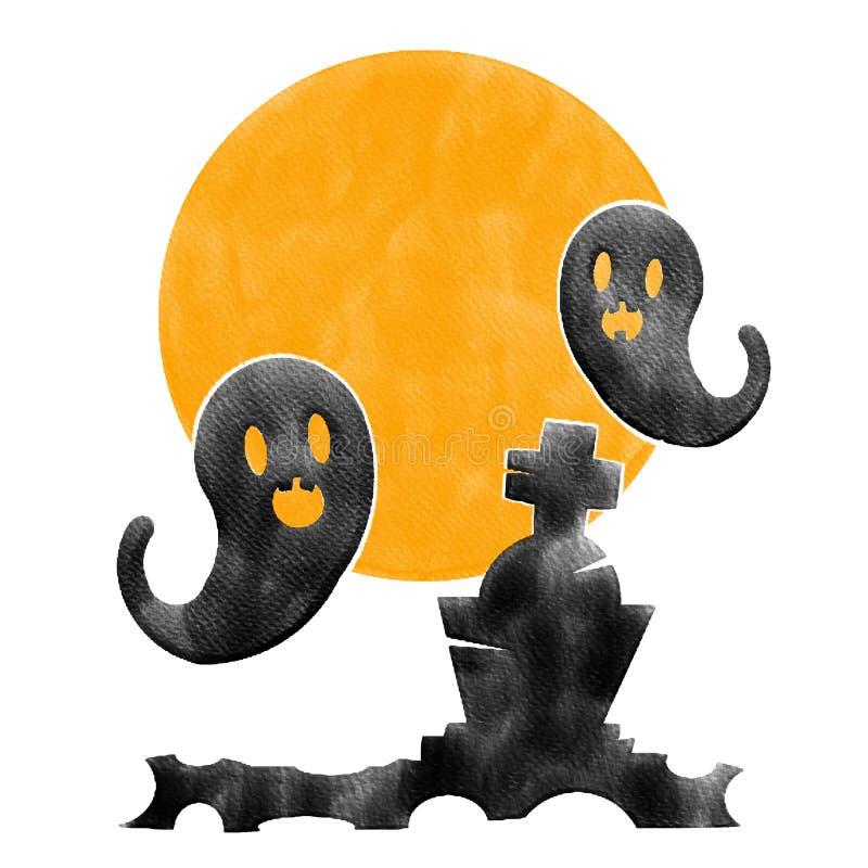 Призрак хеллоуина 2 черный на серьезной и оранжевой луне, изображении картины цвета воды стоковые фотографии rf