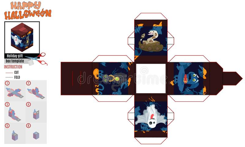 Призрак шаблона квадратной коробки хеллоуина мистический иллюстрация штока