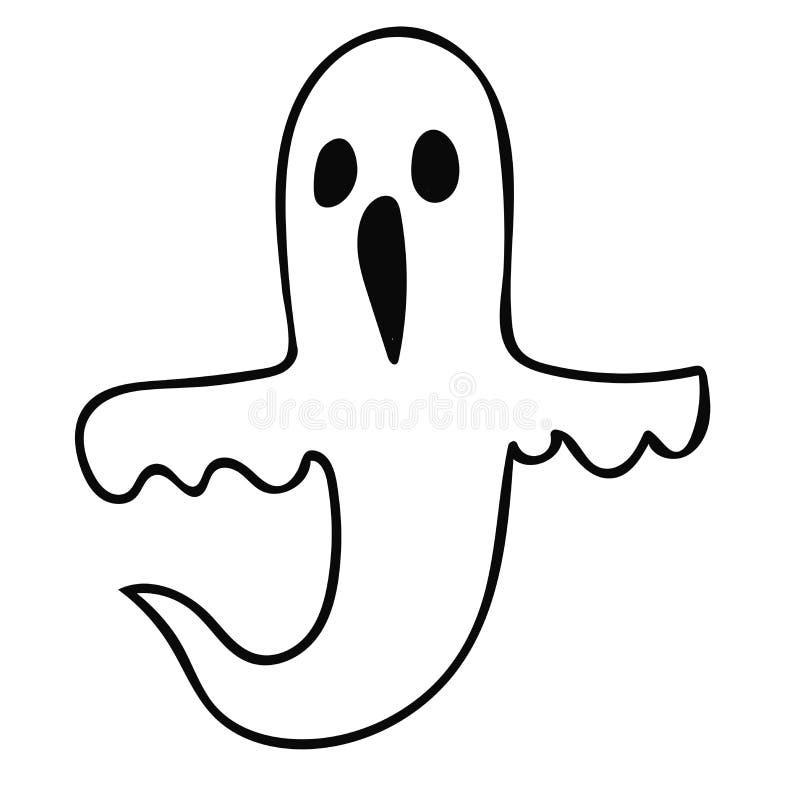 Призрак doodle мультфильма линейный изолированный на белой предпосылке o бесплатная иллюстрация