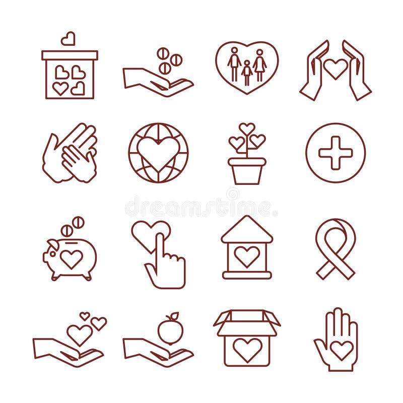 Призрение давая, спонсорство, пожертвование, гуманитарий, деньги к значкам вектора ребенка линейным бесплатная иллюстрация