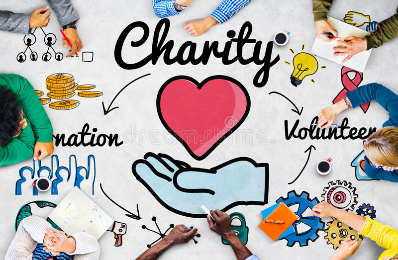 Призрение дарит концепцию шедрости благосостояния благотворительную давая иллюстрация штока