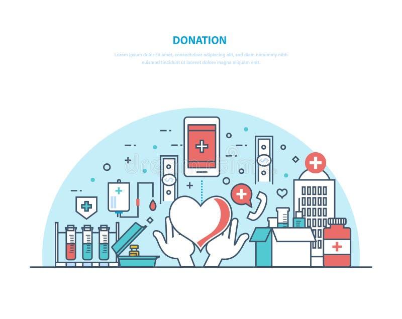 Призрение и пожертвование Финансовый, монетный и донорство крови, добровольная работа иллюстрация штока