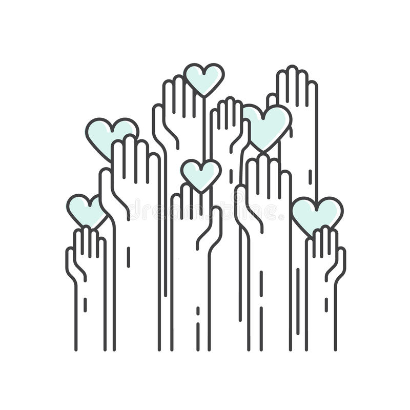 Призрение и Fundraising объекты Добровольный плакат иллюстрация вектора