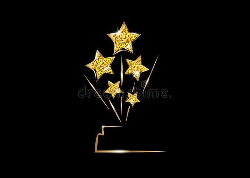 Приз статуи НАГРАДЫ ЗВЕЗДЫ золота ПАРТИИ фильма ГОЛЛИВУД Oscars давая церемонию Концепция значка золотых звезд призовая, значок с иллюстрация вектора