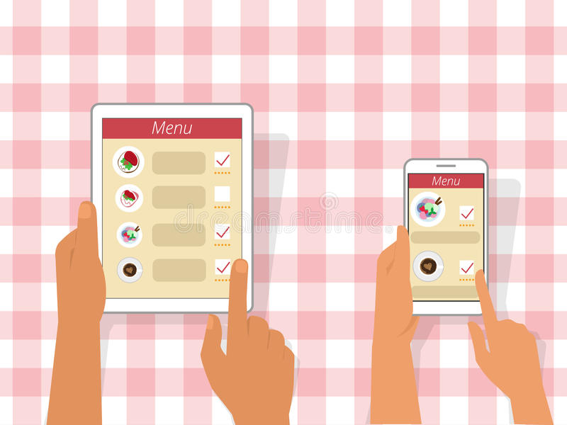 Приказывая еда используя устройства бесплатная иллюстрация