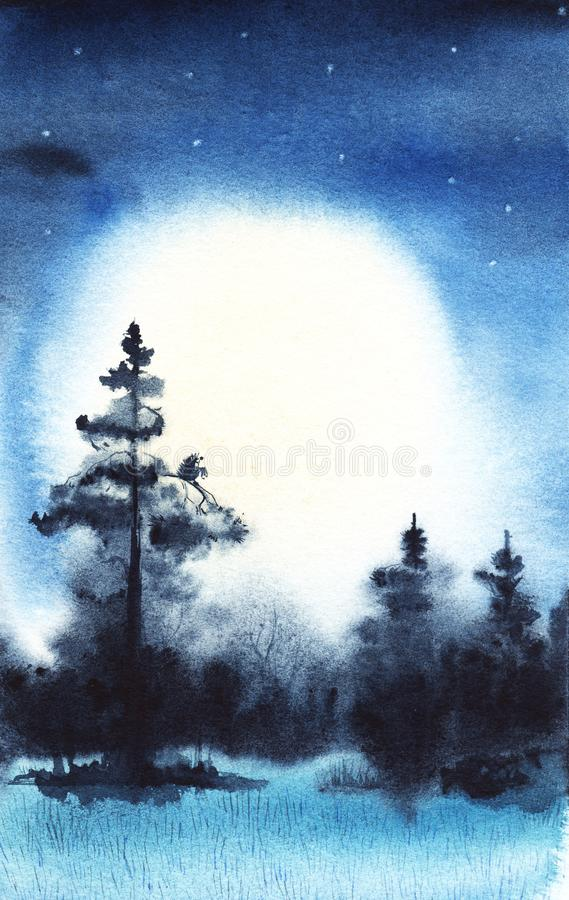 Прикалывает деревянную звездную ночь Реальная иллюстрация акварели иллюстрация вектора