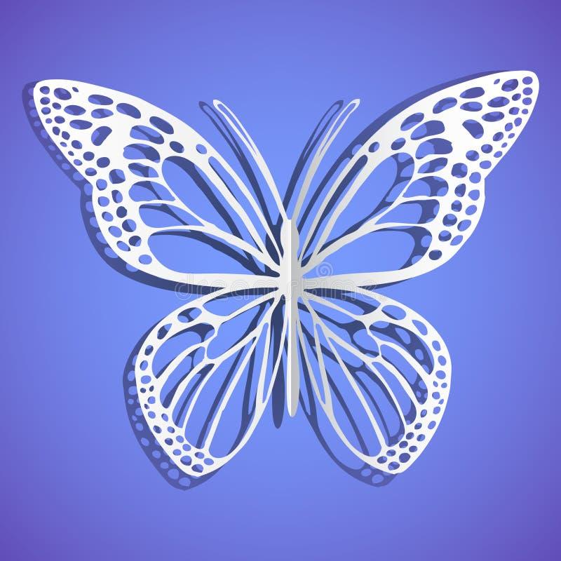 прикалыванная бумага карточки бабочки дела Сумеречница белой бумаги background card congratulation invitation голубой вектор неба иллюстрация вектора