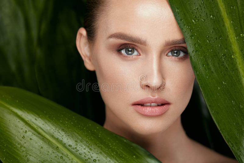 прикладывать политуру кожи внимательности прозрачную Красивейшая женщина с естественным составом стоковая фотография rf