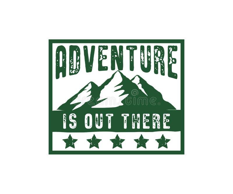 приключение горы там дизайн знака вектора иллюстрация штока