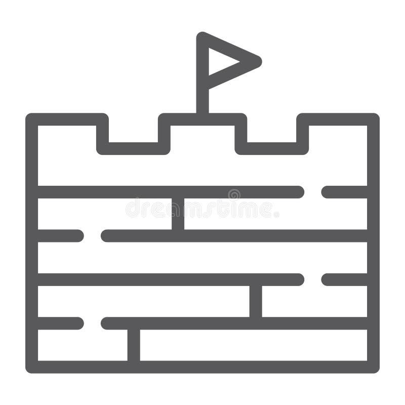 Приключения выравнивают значок, игру и флаг, знак кирпичной стены, векторные графики, линейную картину на белой предпосылке бесплатная иллюстрация