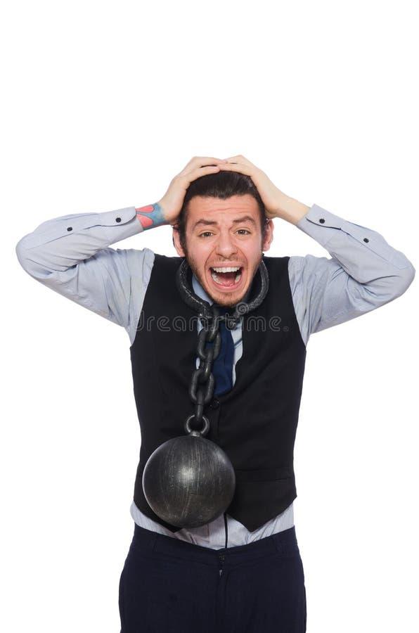 Прикованный мужской работник изолированный на белизне стоковые фото