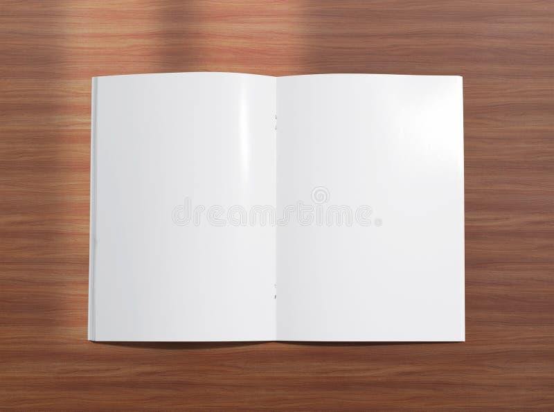 Прикройте раскрытую брошюру на деревянной предпосылке иллюстрация вектора