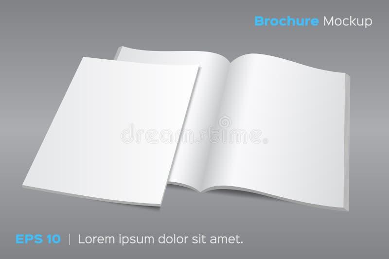 Прикройте раскрытый модель-макет кассеты или брошюры иллюстрация штока