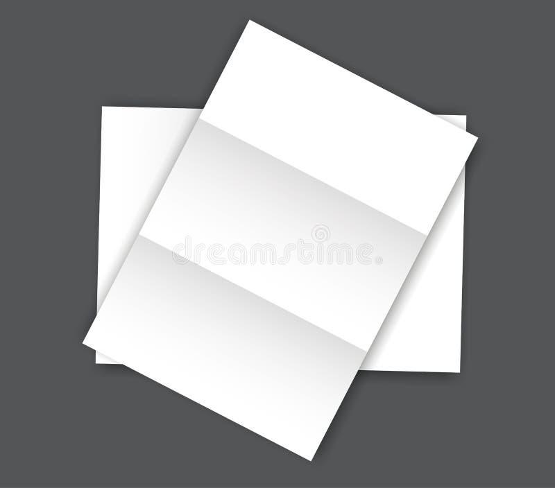Прикройте сложенный бумажный модель-макет пробела A4 страницы иллюстрация вектора