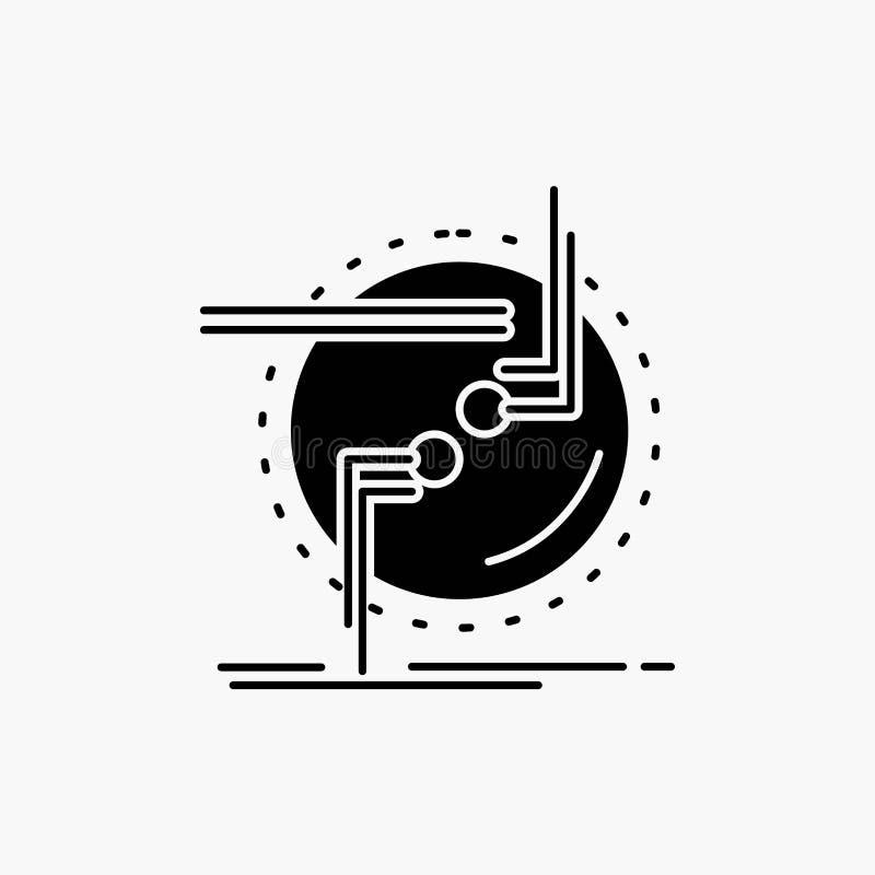 прикуйте, соединитесь, соединение, связь, значок глифа провода r иллюстрация вектора