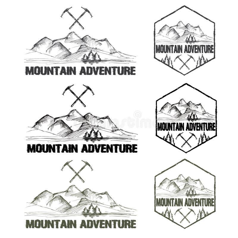 Приключение горы ярлыков эскиза винтажное бесплатная иллюстрация